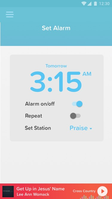 Set Alarm Screen