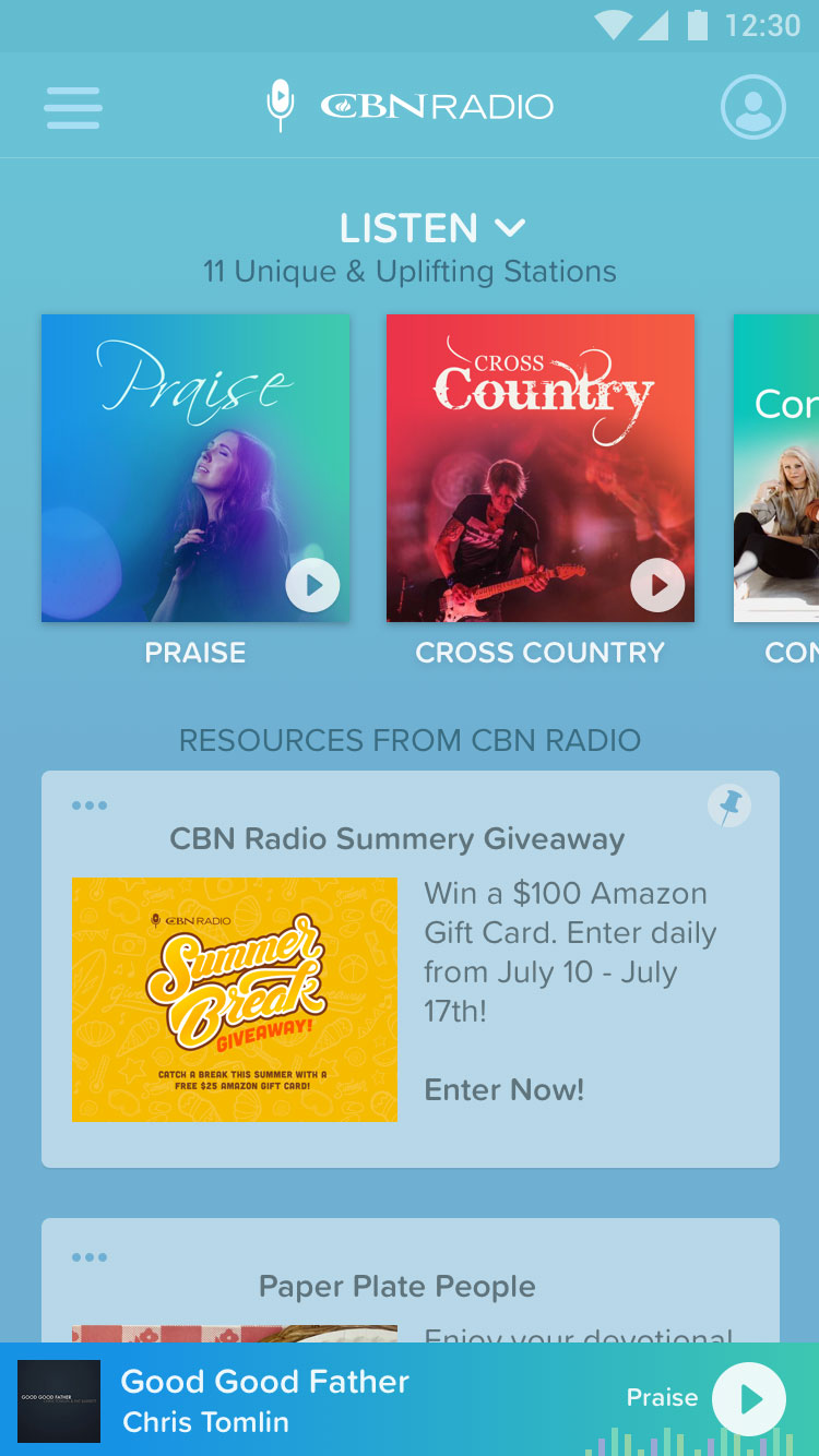 CBN Radio App Home